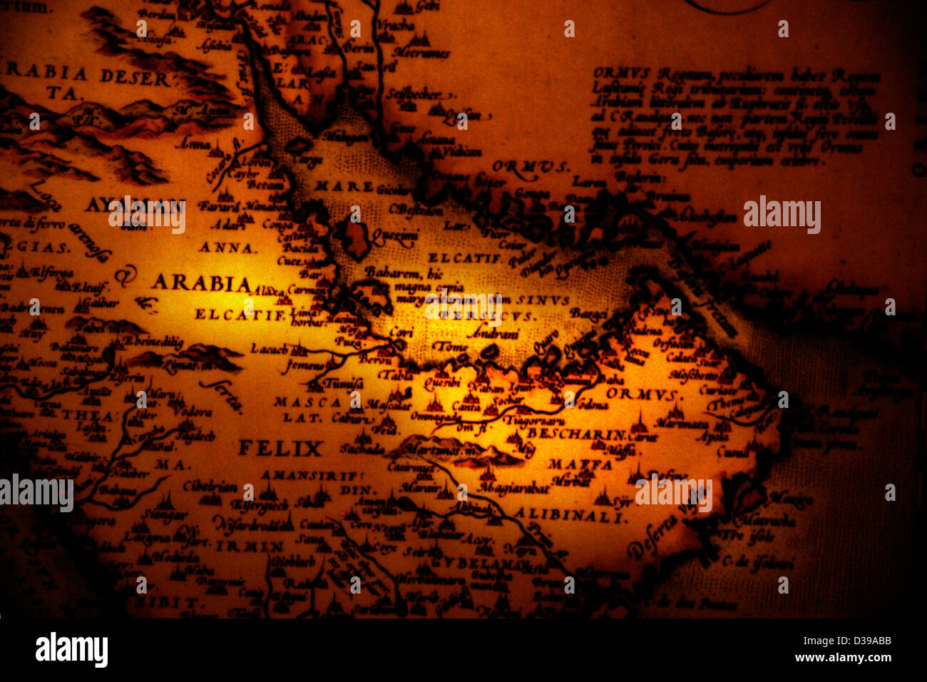UAE Emirate of Dubai Al-Fahidi Fort Museum map of 1500 - Stock Image