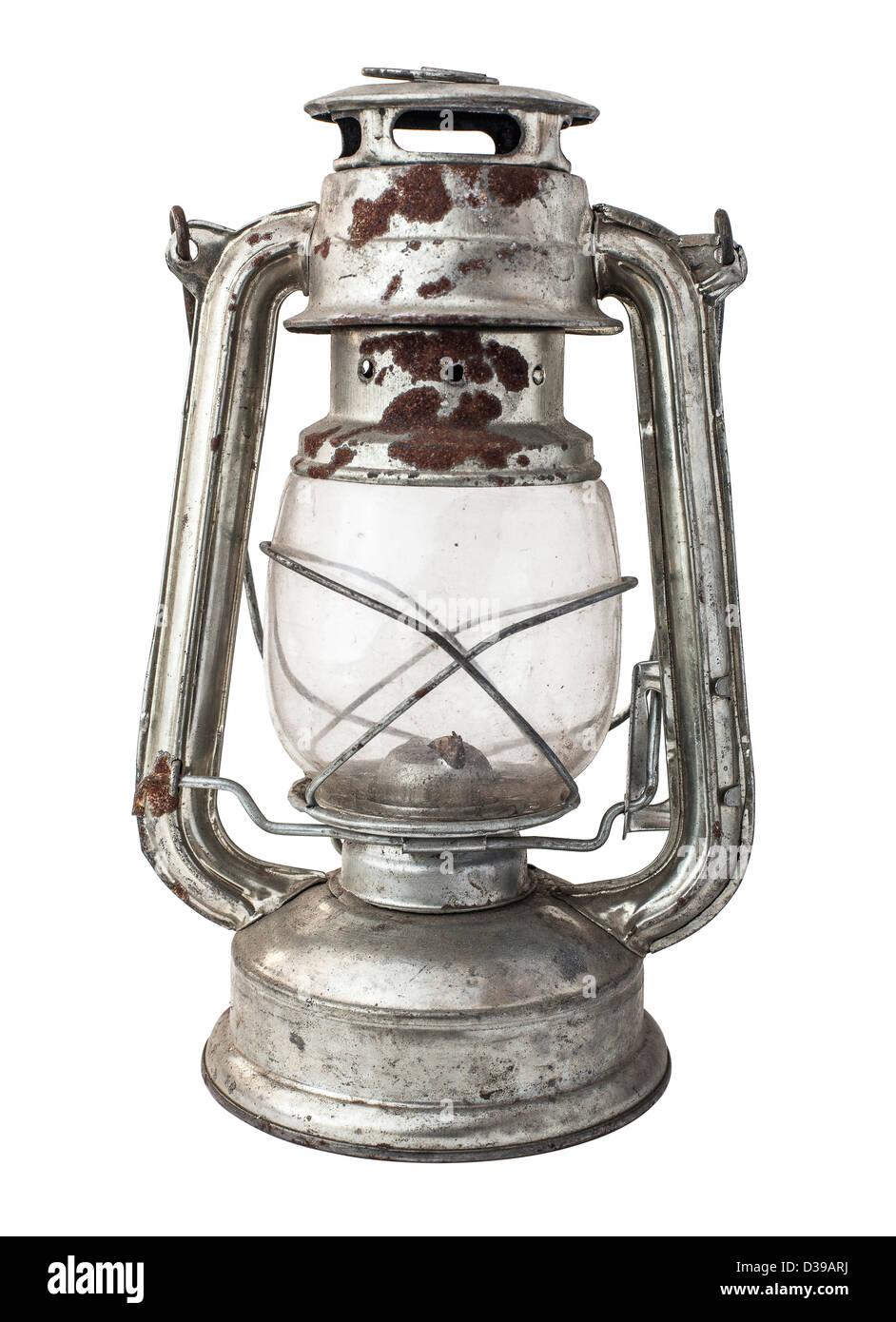 kerosene lamp on a white background - Stock Image