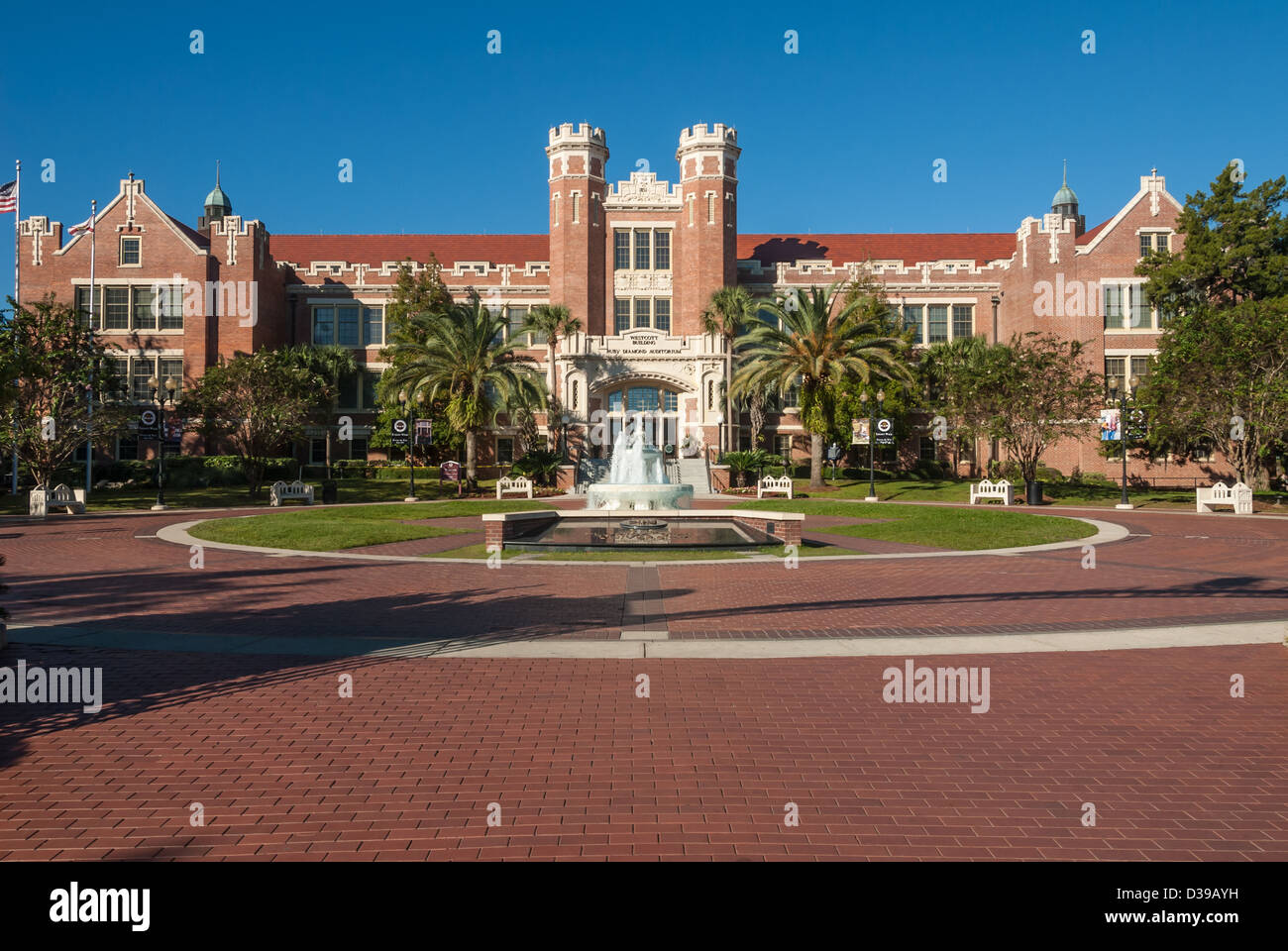 Florida State University's revered Westcott Building and fountain in morning sunlight. Tallahassee, Florida, - Stock Image