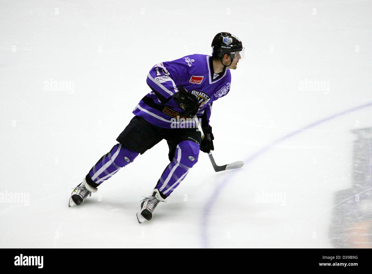 Glasgow, Scotland, UK. 13th February 2013. Elite Ice Hockey League Braehead Clan v Hull Stingrays Braehead Arena. - Stock Image