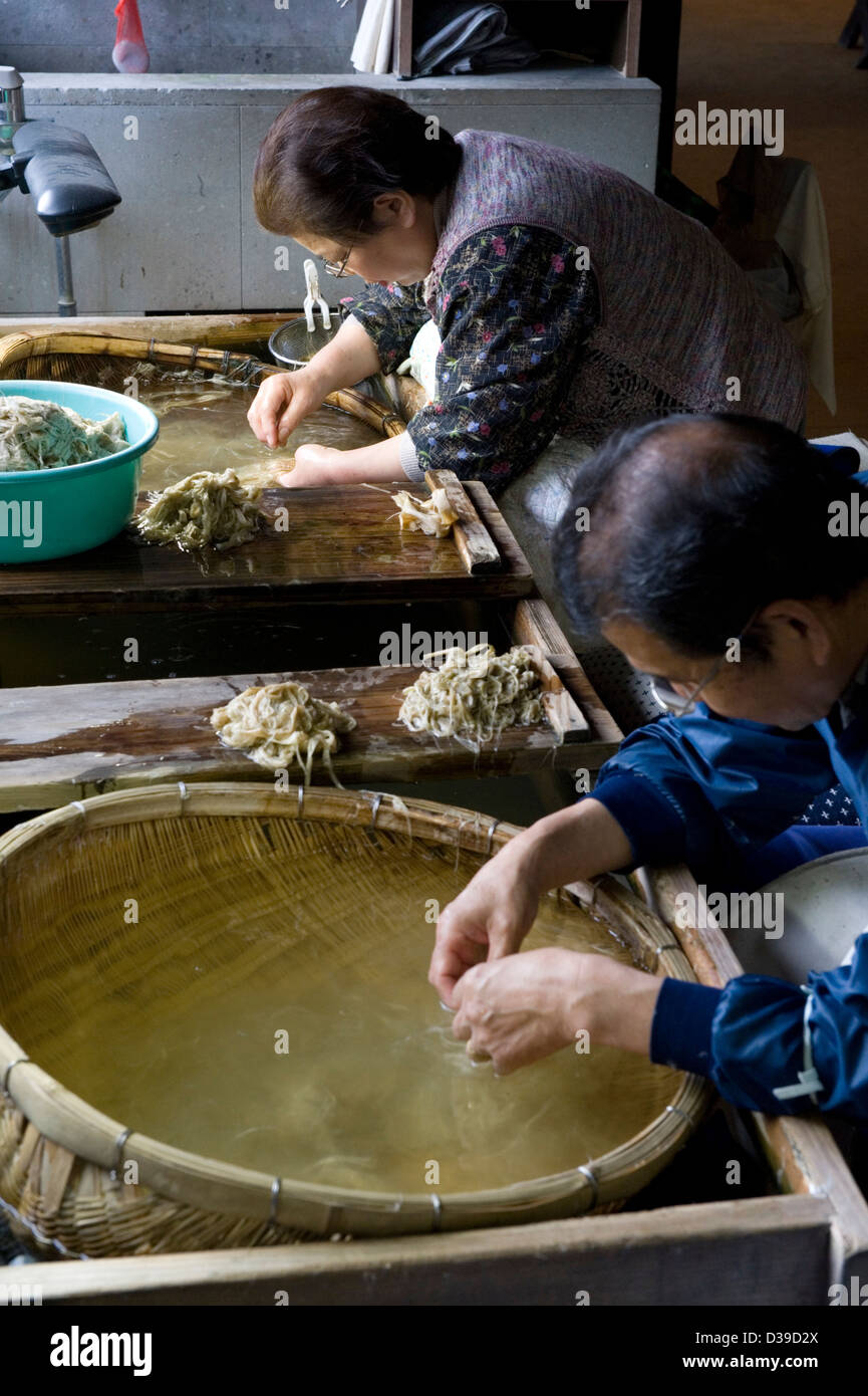 Woman and man sorting mulberry bark fibers by hand in a sink, called chiritori, for making traditional washi Japanese - Stock Image