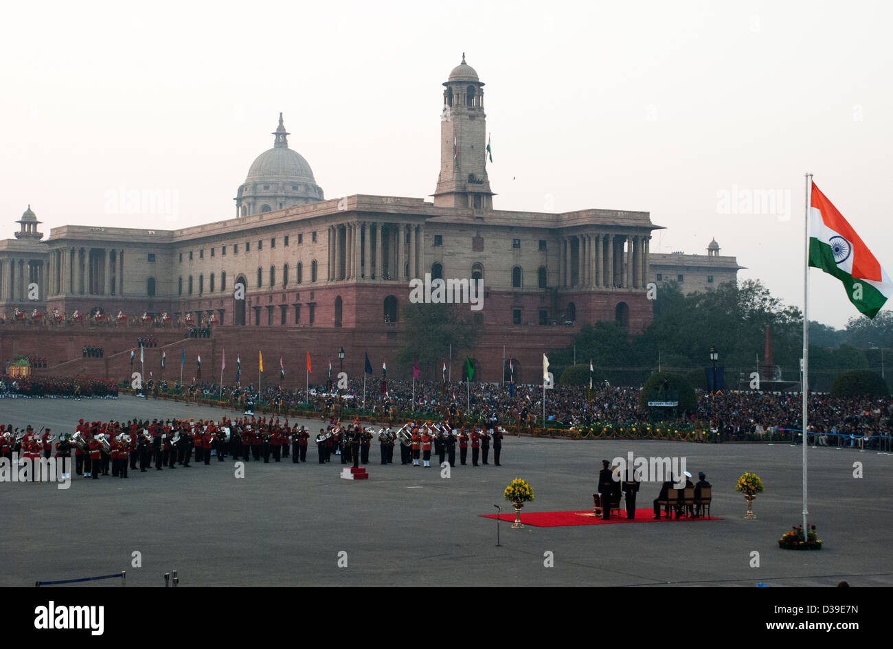 Beating Retreat at Vijay Chowk, New Delhi, India. - Stock Image