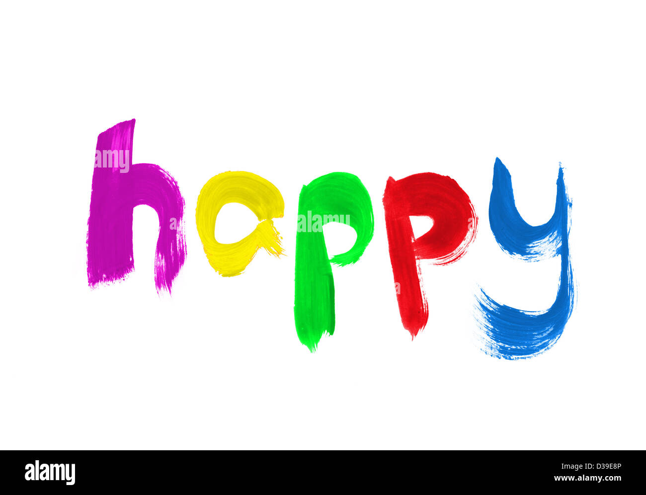 Happy painted on white background - Stock Image