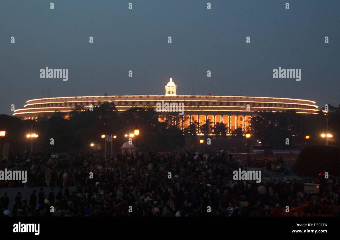 Illumination at Parliament House, New Delhi, India. - Stock Image