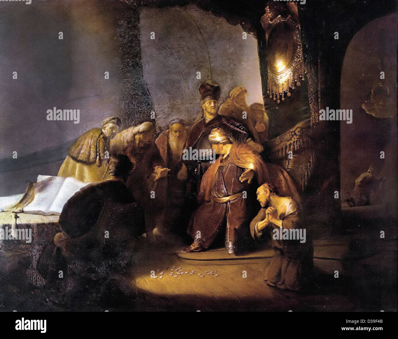 Rembrandt van Rijn, Repentant Judas Returning The Pieces Of Silver. 1629 Oil on panel. Baroque. Gallery: Private - Stock Image