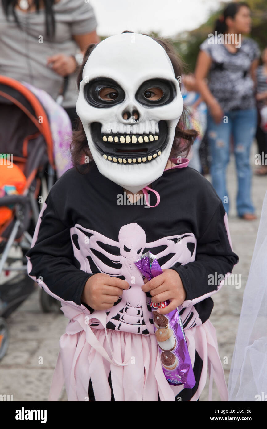 Young girl wearing skeleton mask and costume for Day of the Dead childrenu0027s parade Oaxaca Mexico. : wow skeleton costume  - Germanpascual.Com
