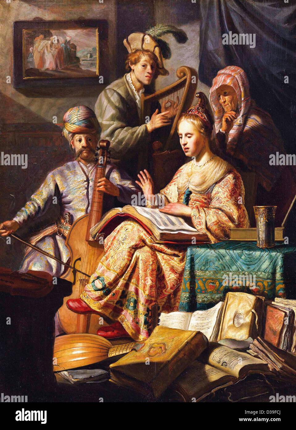 Rembrandt van Rijn, Musical Allegory. 1626 Oil on panel. Baroque. Gallery: Rijksmuseum Amsterdam. - Stock Image