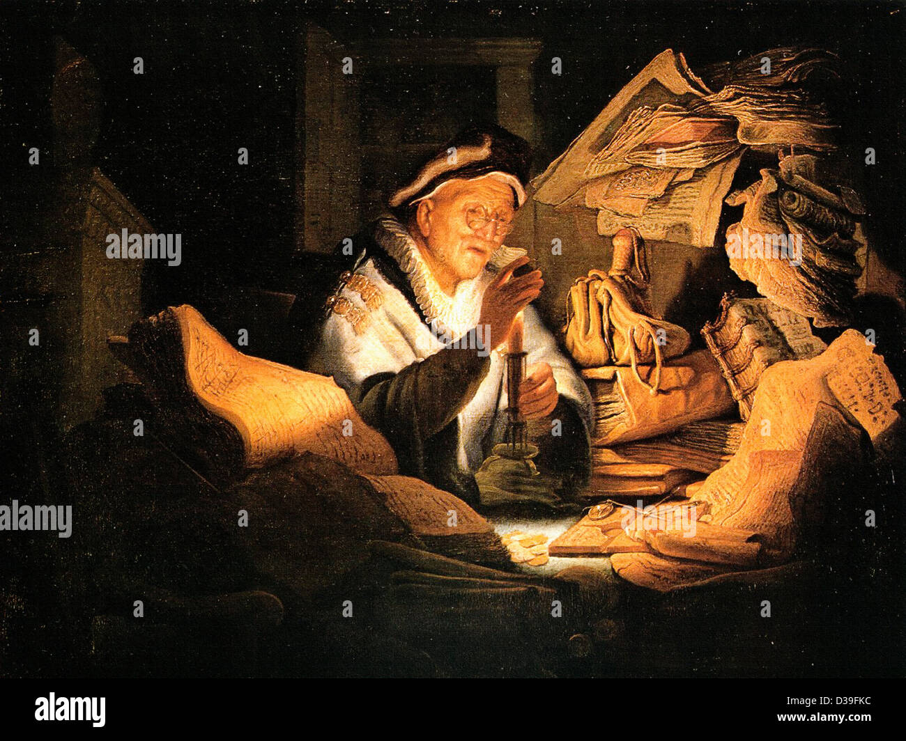 Rembrandt van Rijn, The Rich Man from the Parable. 1627 Oil. Baroque. - Stock Image