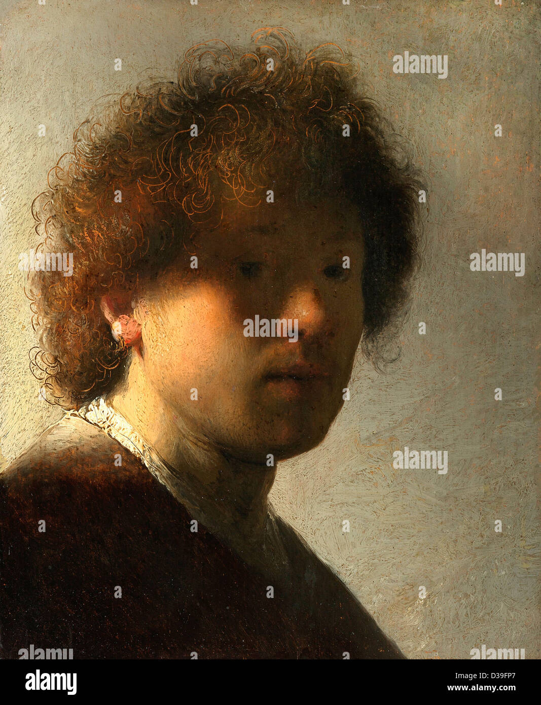 Rembrandt van Rijn, Self Portrait at an Early Age. 1629 Oil on panel. Baroque. Rijksmuseum Amsterdam. - Stock Image