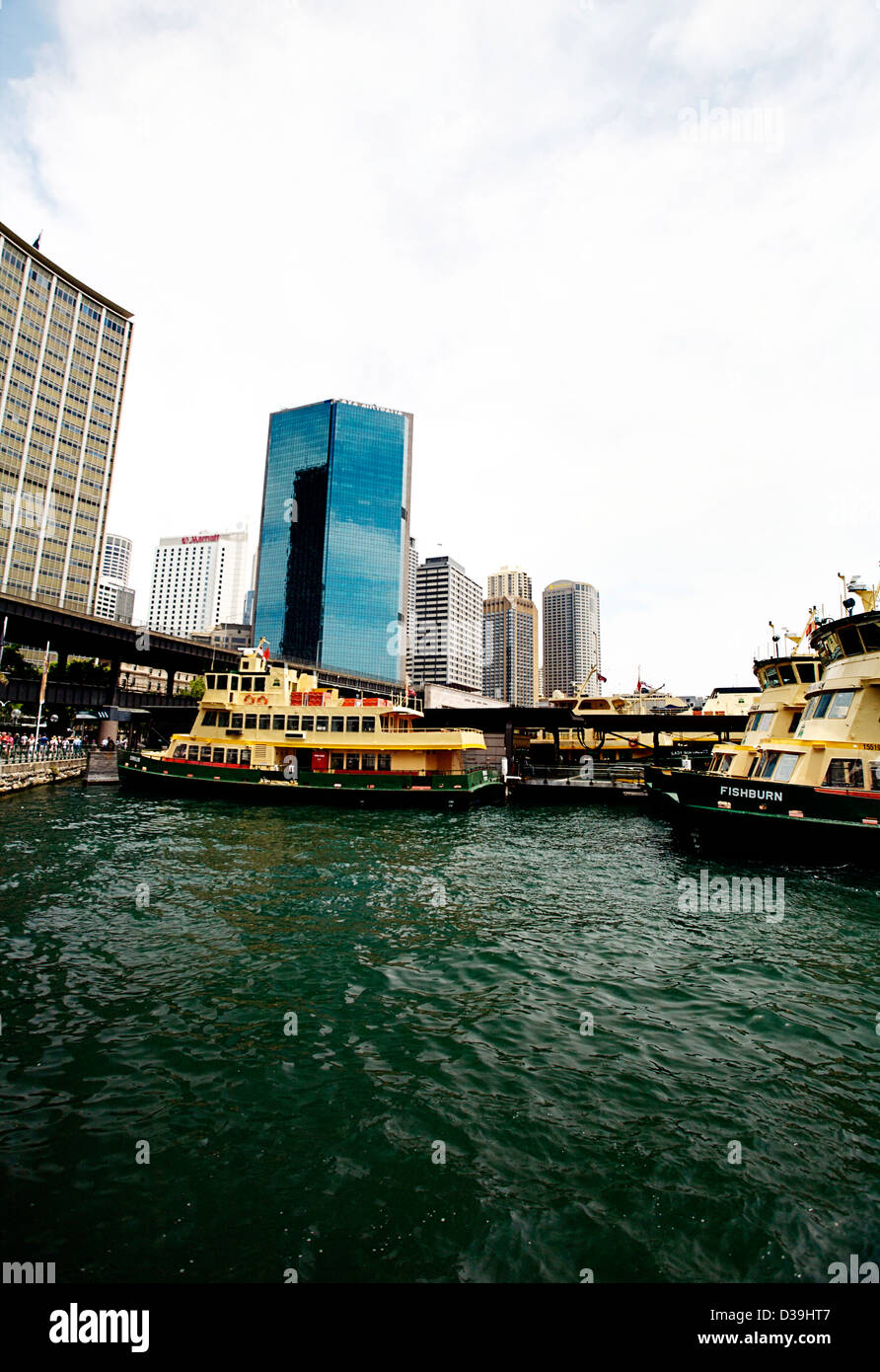Two Sydney Ferries at Circular Quay, Sydney Australia - Stock Image