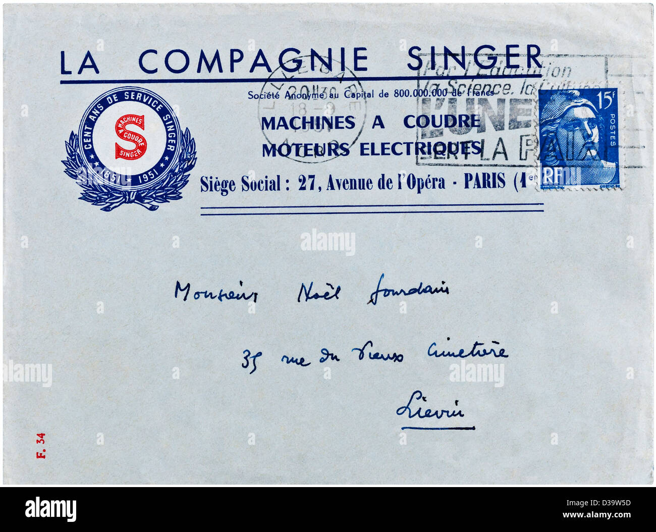 1951 French letter with 100-year anniversary Singer Sewing Machines advertising logo. - Stock Image