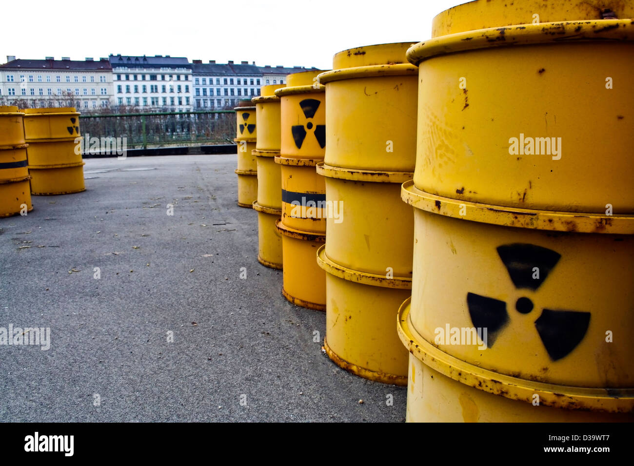 Rusty and old barrel with radioactive waste Stock Photo