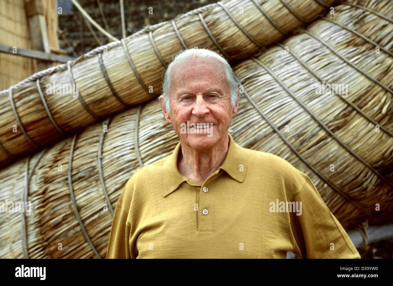 (dpa) - The Norwegian explorer, ethnologist and archaelogist Thor Heyerdahl died aged 87 in his house near Alassio, Stock Photo
