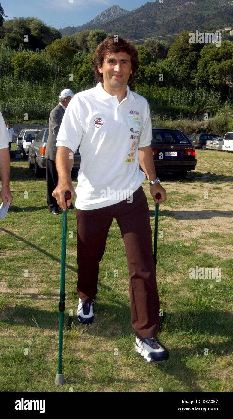 (dpa) - Alessandro Zanardi, Italy's former formula-1 pilot, attends the all star soccer game in Menton, France, - Stock Image