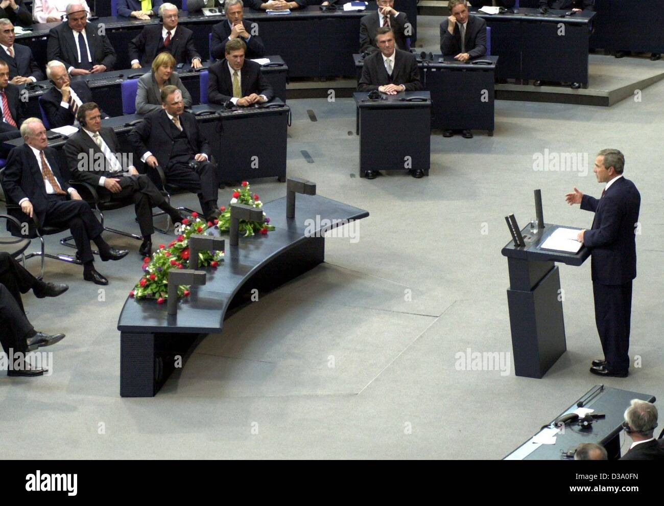 (dpa) - US President George W. Bush delivers his speech in German parliament, the Bundestag, in Berlin, 23 May 2002. He called for a joint European appearance against the 'enemies of freedom'. Bush came on a one-week visit to Europe, Germany being his first stop. Stock Photo