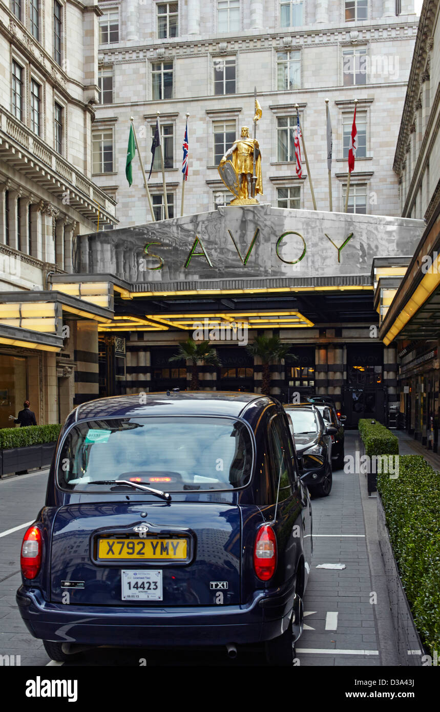 Savoy hotel in London entrance and canopy - Stock Image