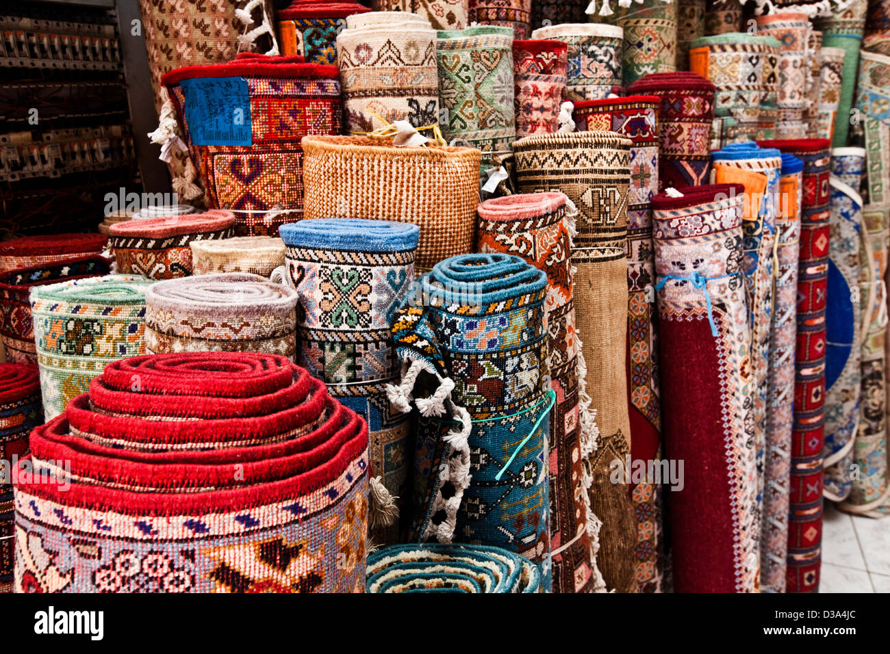 Rugs For Sale In Souk Marrakech Morocco Stock Photo