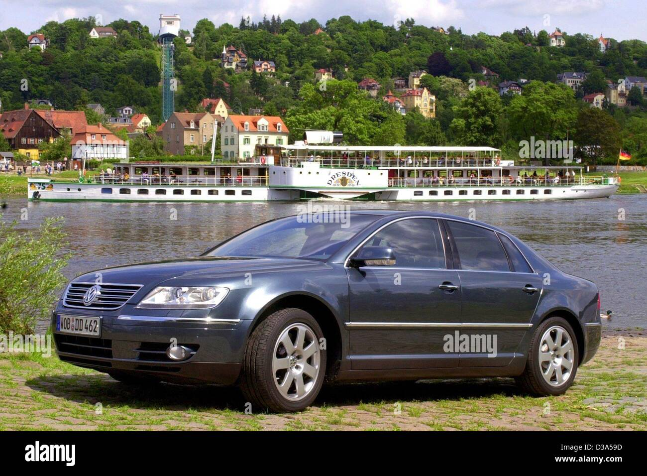 (dpa) - A Phaeton, the new car by German automobile producer Volkswagen (VW), is parked on the bank of the river Stock Photo