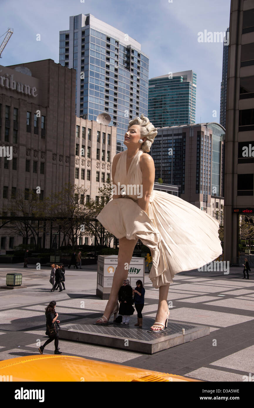 The Marilyn Monroe statue on Michigan Avenue in Chicago IL Illinois USA - Stock Image