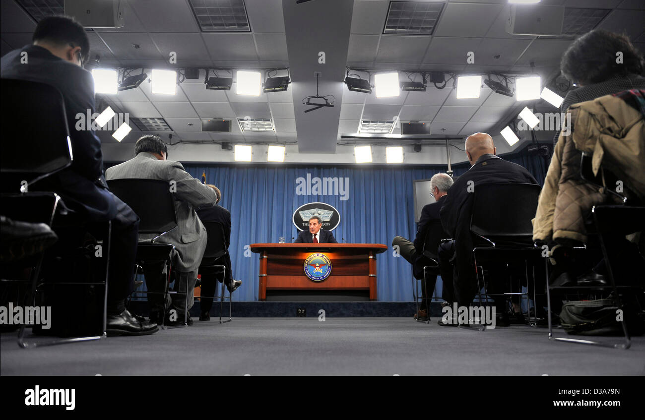 US Secretary of Defense Leon Panetta during his final press briefing before the end of his tenure as Secretary in - Stock Image