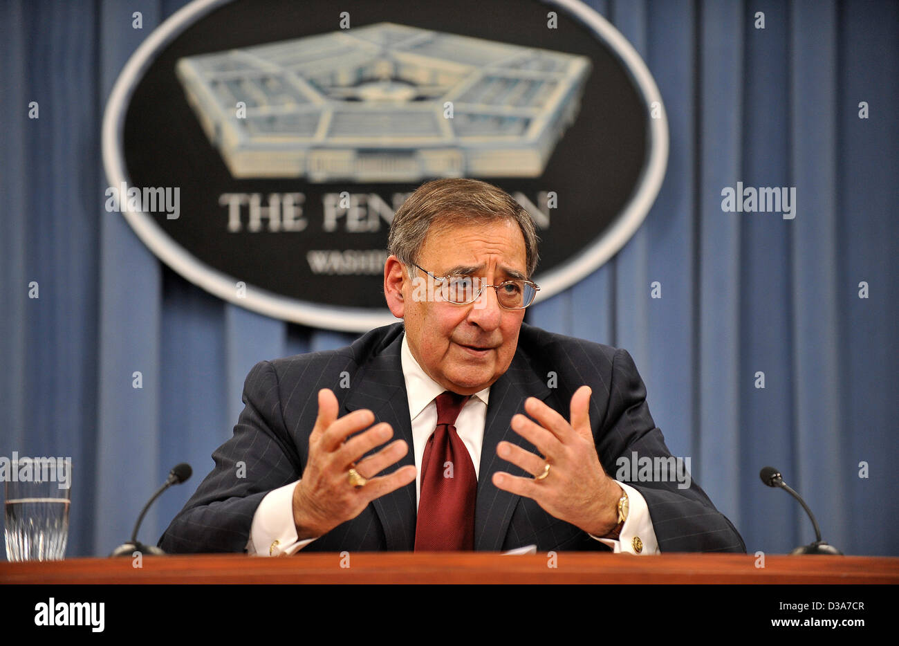 US Secretary of Defense Leon Panetta during his final press briefing before the end of his tenure as Secretary in Stock Photo