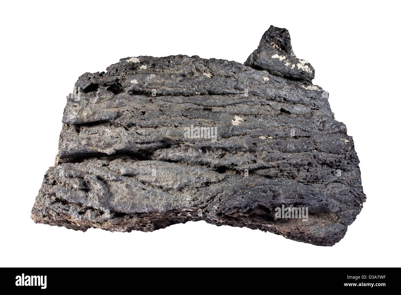 Pahoehoe ropy lava fragment - Stock Image