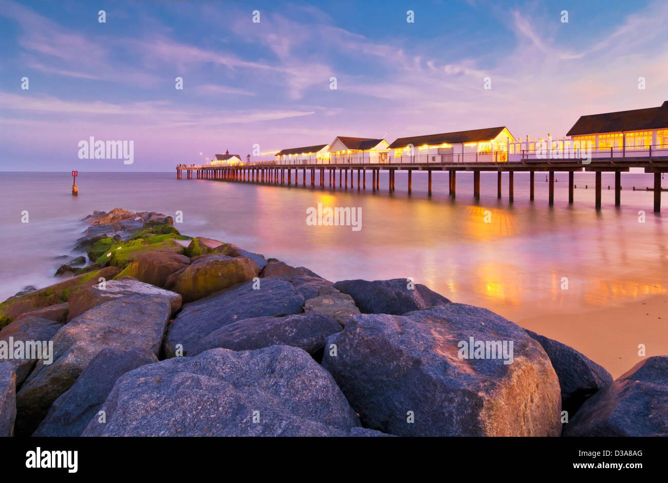 Southwold pier at sunset, Southwold, Suffolk, East Anglia, England, GB, UK, EU, Europe - Stock Image
