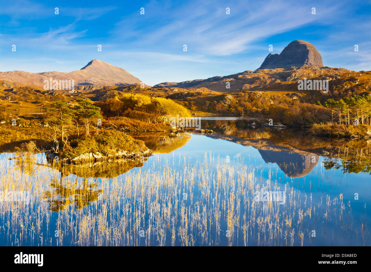 Two mountains of Suilven and Canisp from Loch Druim Suardalain, Sutherland, North west Scotland, UK, GB, EU, Europe Stock Photo