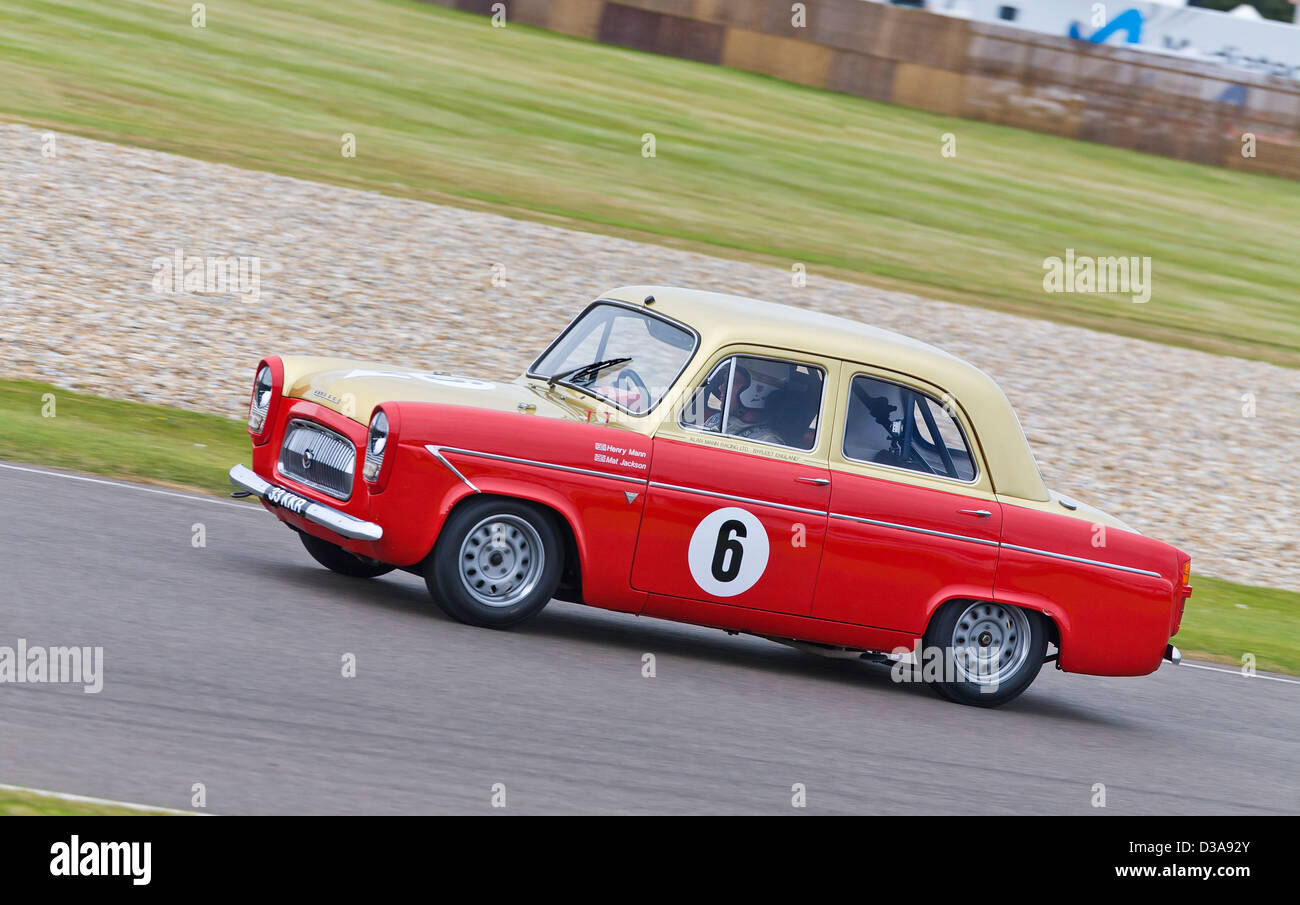 1959 Ford Prefect 107E with driver Henry Mann in the St Mary's Trophy race at the 2012 Goodwood Revival, Sussex, Stock Photo