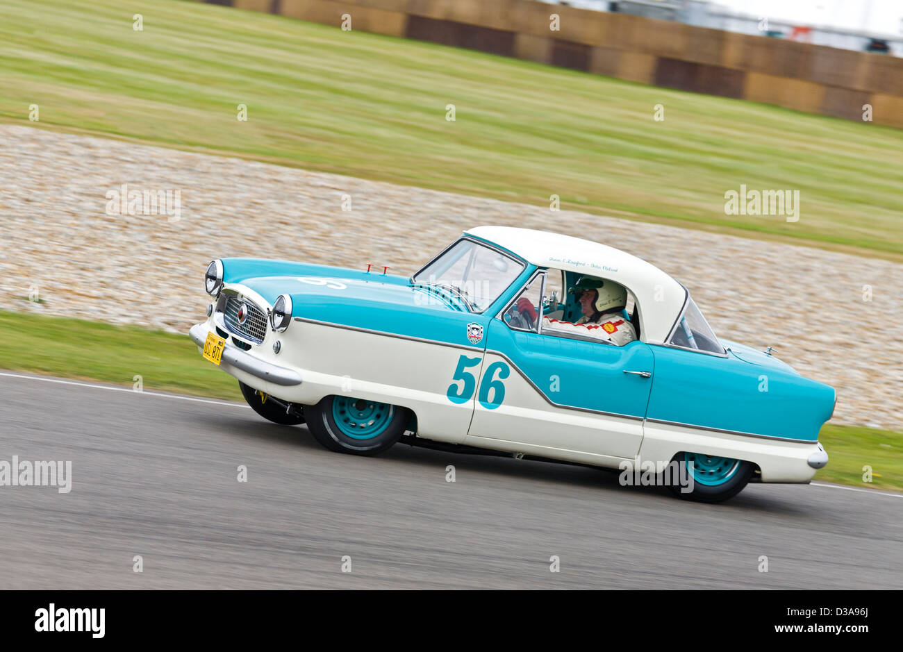 1956 Austin Metropolitan with driver Shaun Rainford during the St Mary's race at the 2012 Goodwood Revival, - Stock Image
