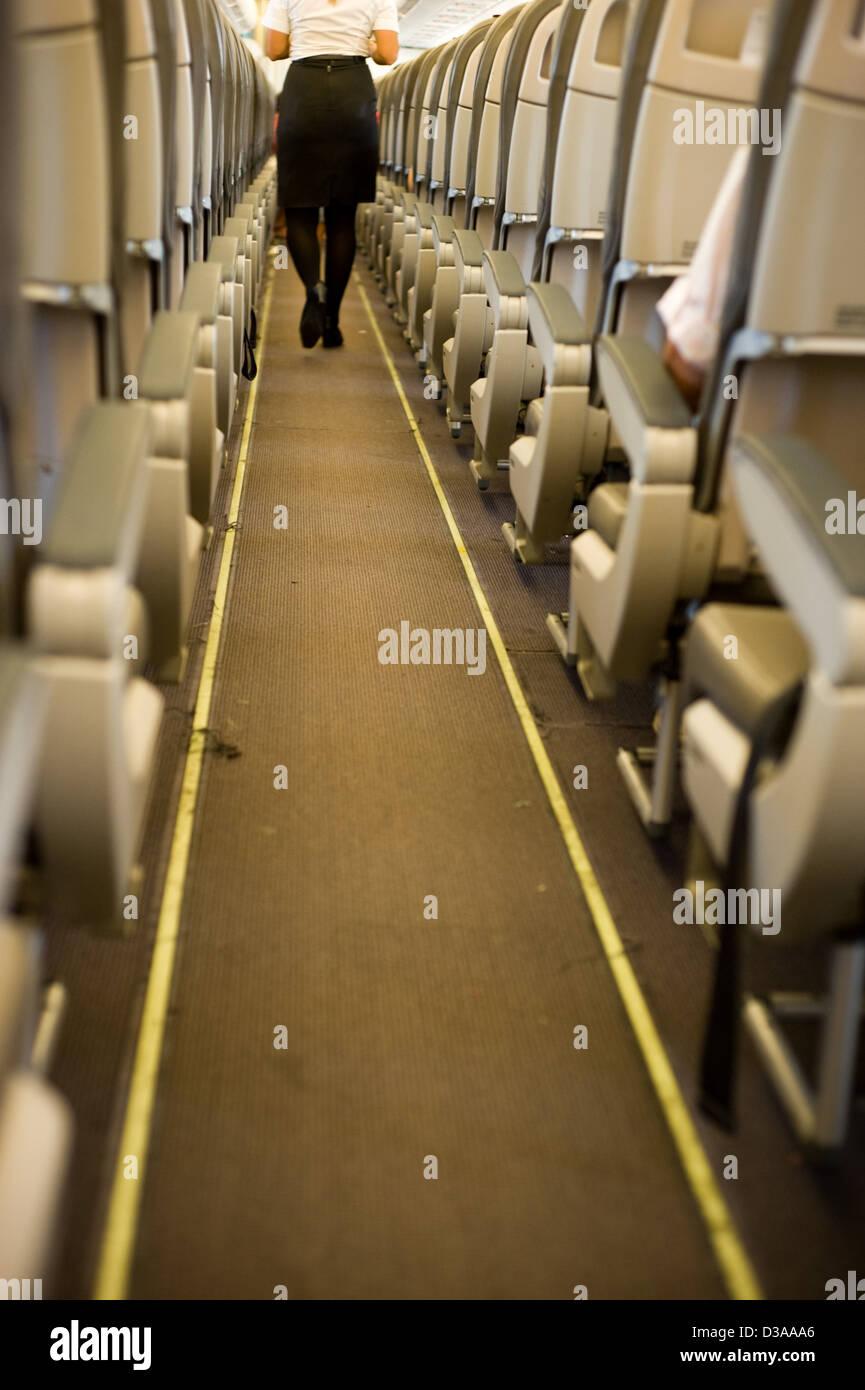 Aisle of a plane. - Stock Image