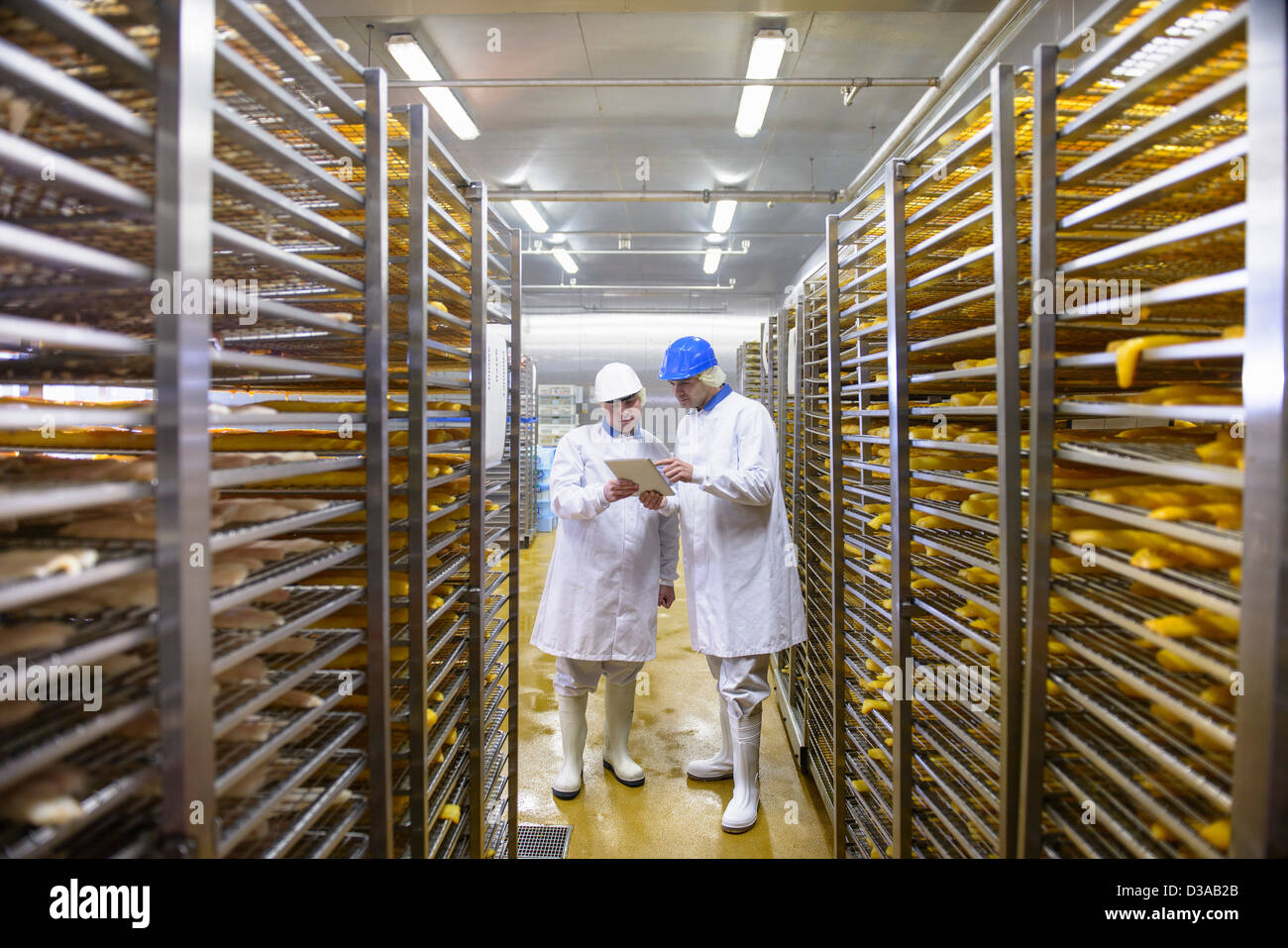 Workers checking details on tablet of fish for smoking in food factory Stock Photo
