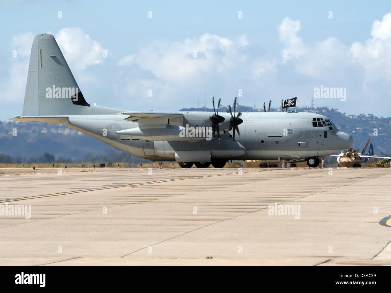 US Marines C-130 Hercules at the airshow at Air Station Miramar, California Stock Photo