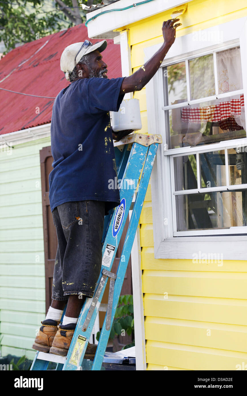 Painter, Christiansted, St. Croix, US Virgin Islands, Caribbean - Stock Image