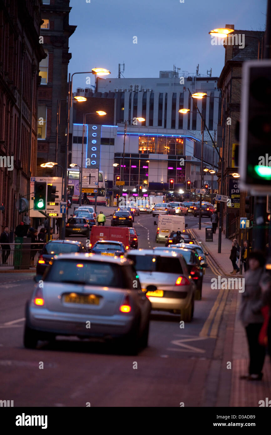 Traffic in the city centre in Leeds , West Yorkshire - Stock Image