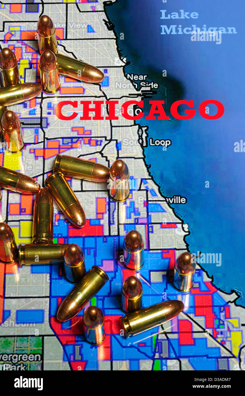 Map of Chicago, Illinois showing rival gang boundaries ...