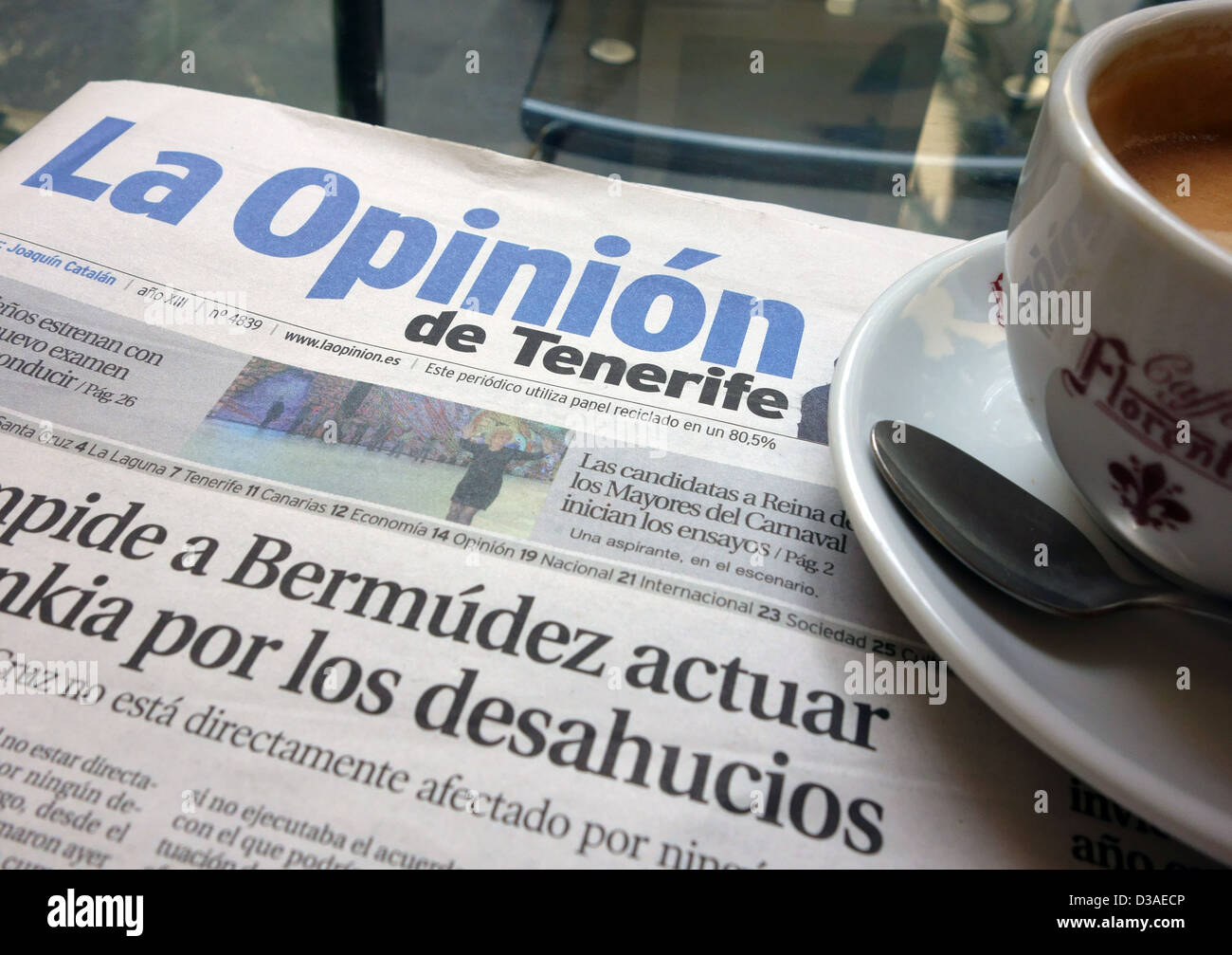 La Opinion is daily newspaper in Tenerife, Canary Islands - Stock Image