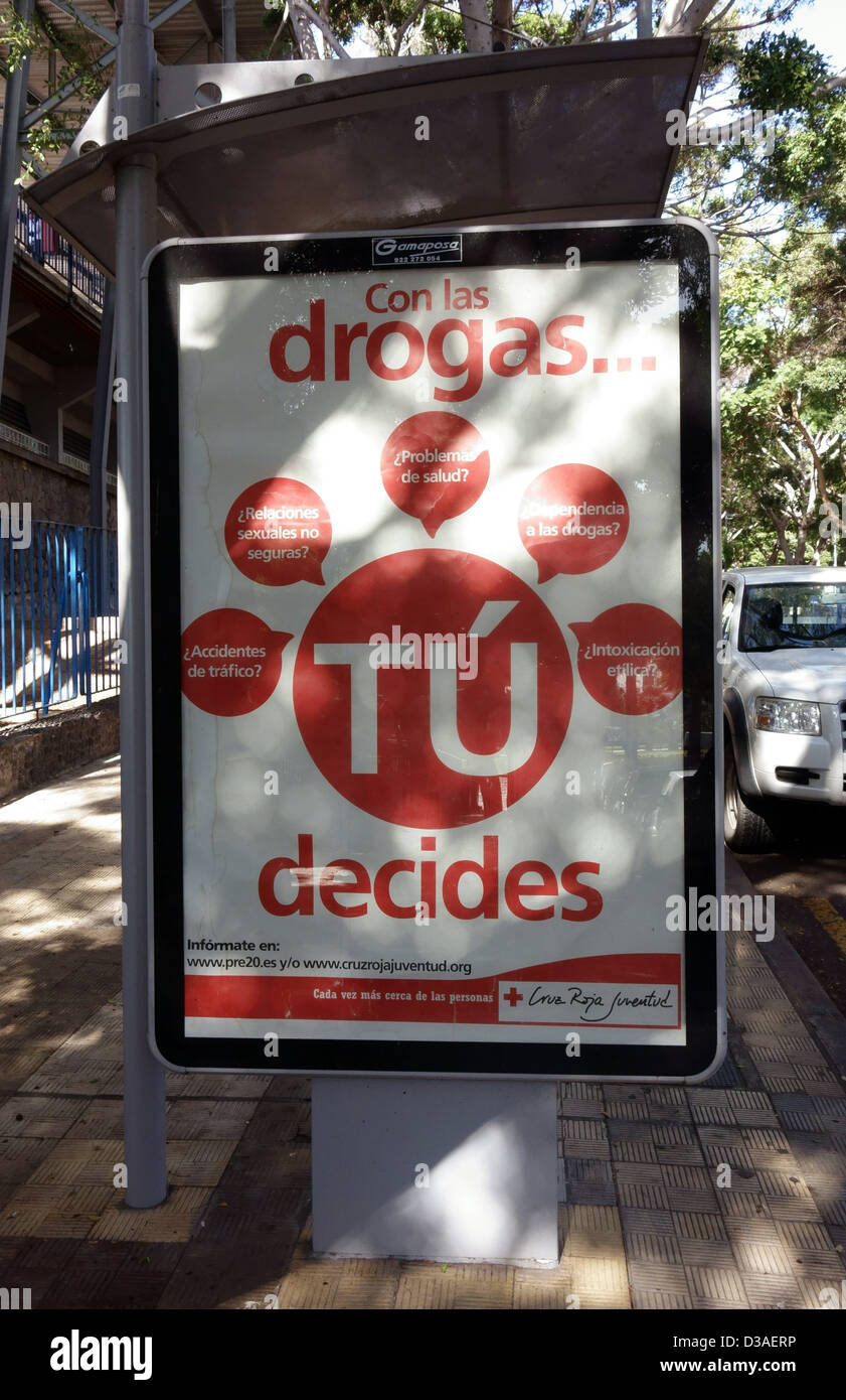 Anti drugs poster by Red Cross in Santa Cruz de Tenerife, Canary Islands - Stock Image