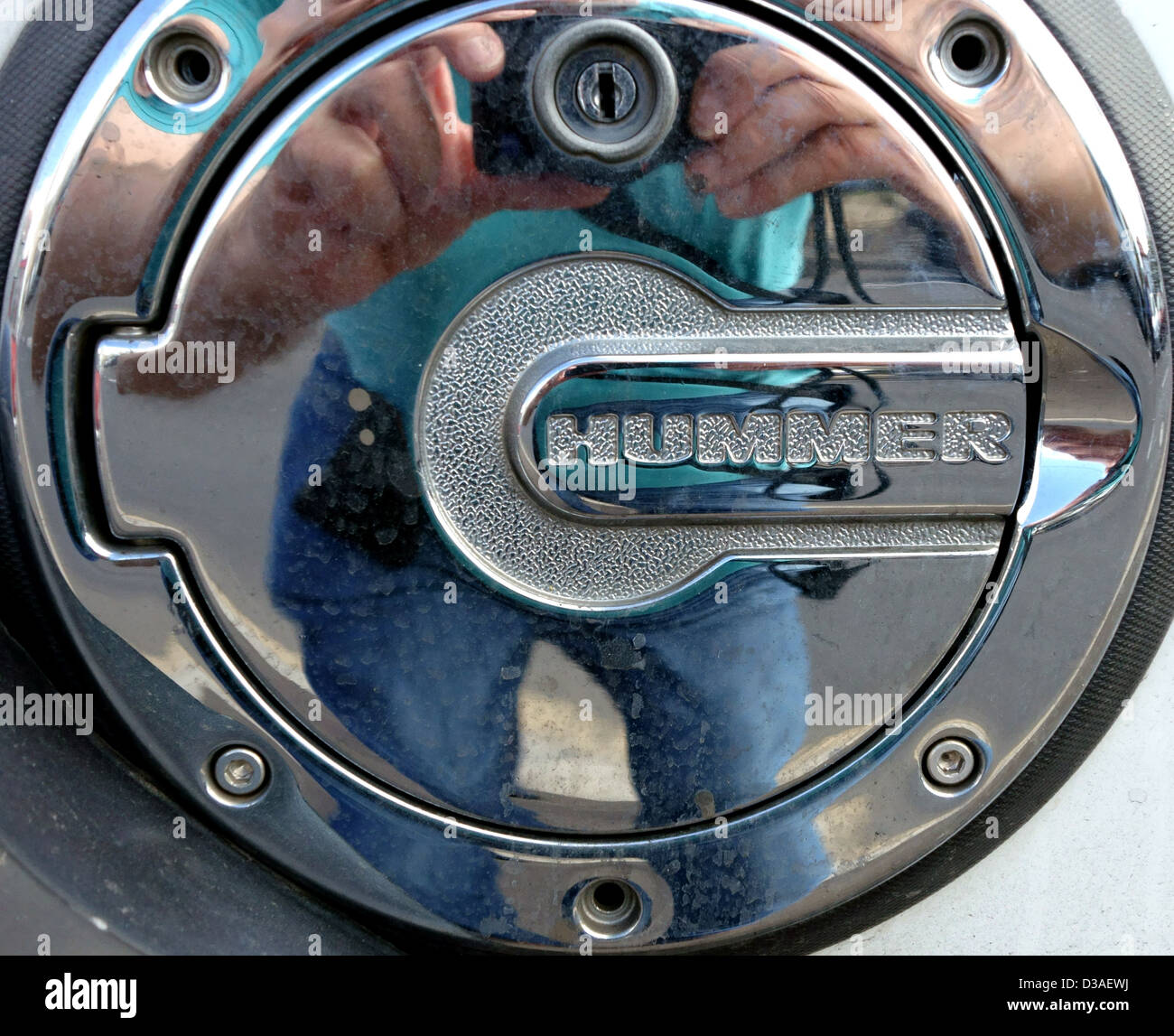 Fuel cap on Hummer 4x4 vehicle, Tenerife, Canary Islands - Stock Image