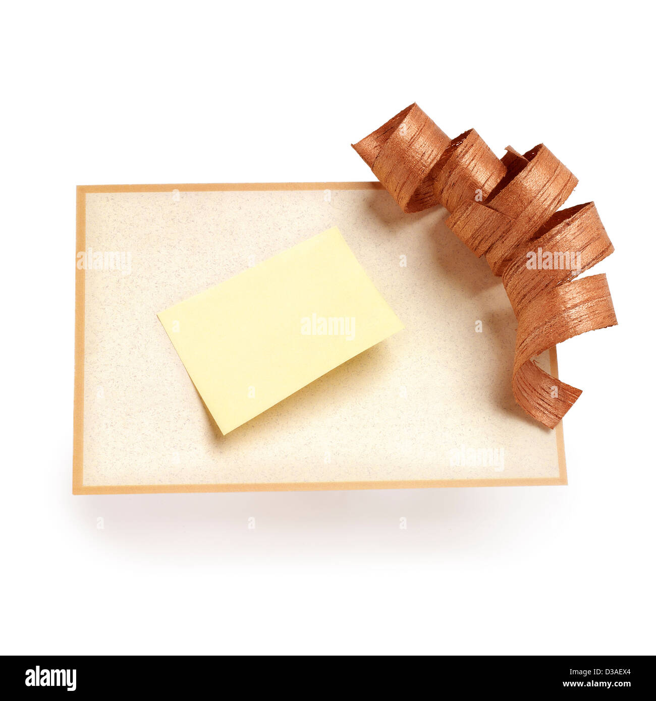 Ecological greeting card with post it. Good to memo. clipping path - Stock Image