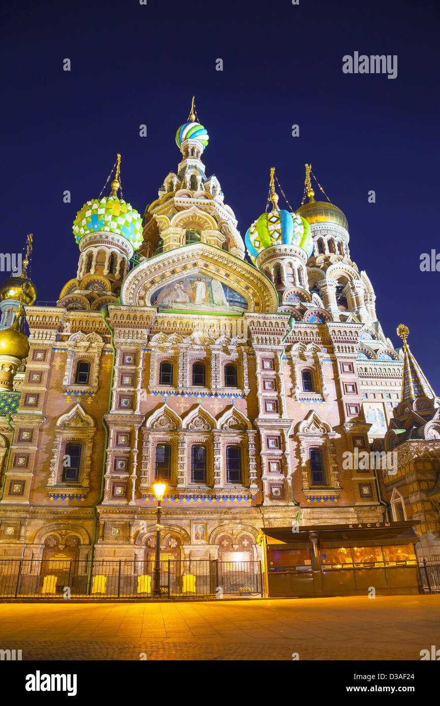 Savior on Blood Cathedral (Church of the Resurrection of Jesus Christ) in St. Petersburg, Russia in the night time - Stock Image