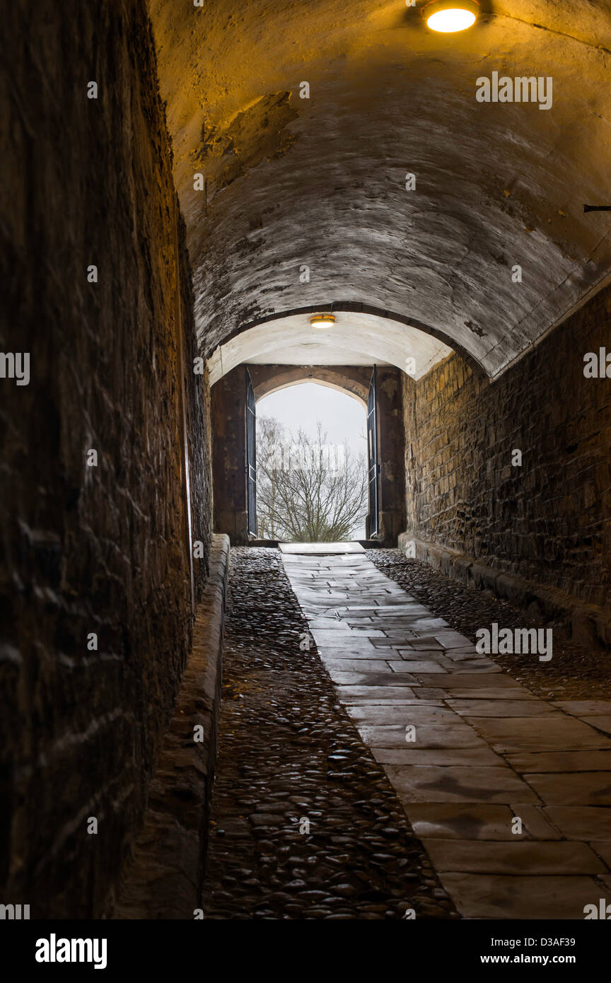 Passageway at the norman built cathedral at Durham, England. - Stock Image