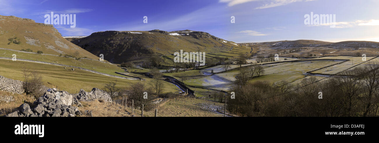 View looking towards Gordale Scar near Malham , North Yorkshire - Stock Image