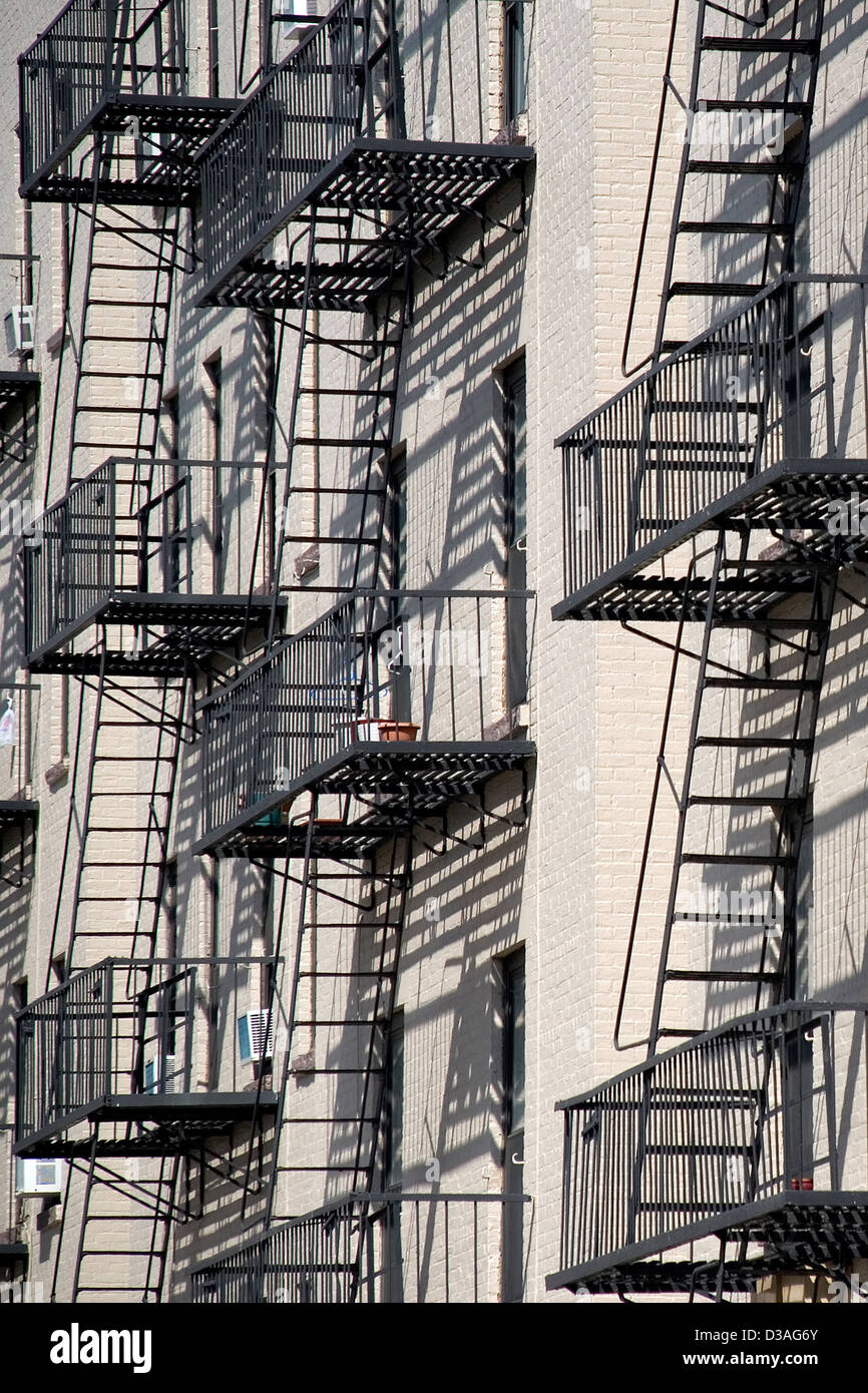 Hoboken fire escapes. - Stock Image