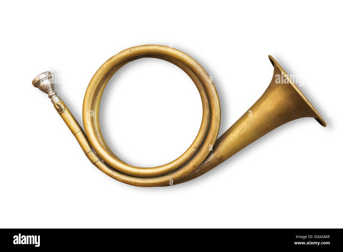 copper hunting horn with clipping path included - Stock Image