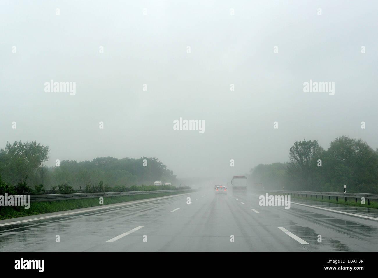 Leipzig, Germany, on the rain-slicked road motorway A9 Stock Photo