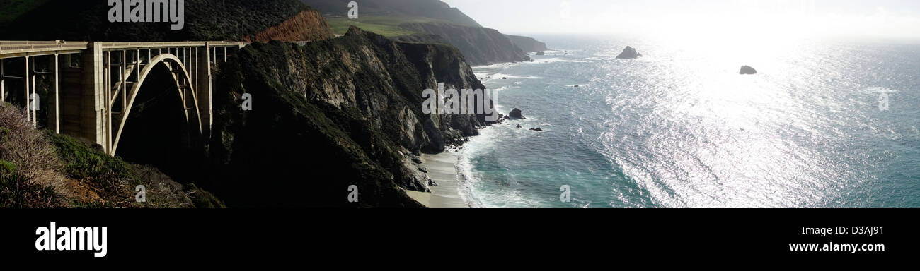 panoramic view historic Bixby Bridge built 1932 and Pacific Ocean along scenic Highway One Pacific Coast Highway - Stock Image