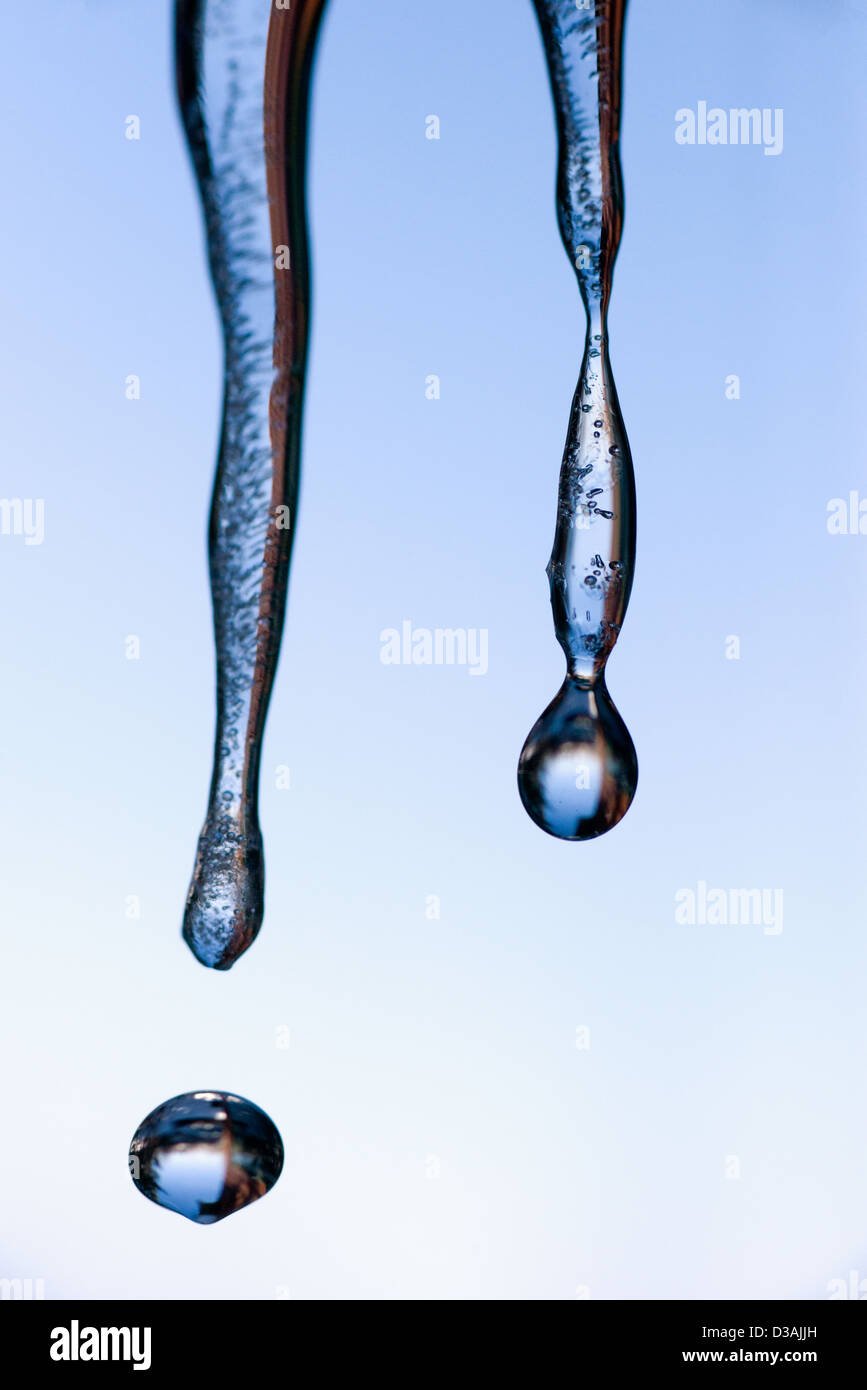 Water droplet falling from icicles, Wallowa Valley, Oregon. - Stock Image