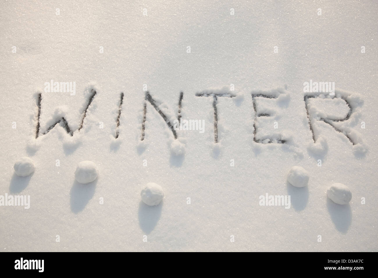 inscription of big printed letters on white snow - Stock Image