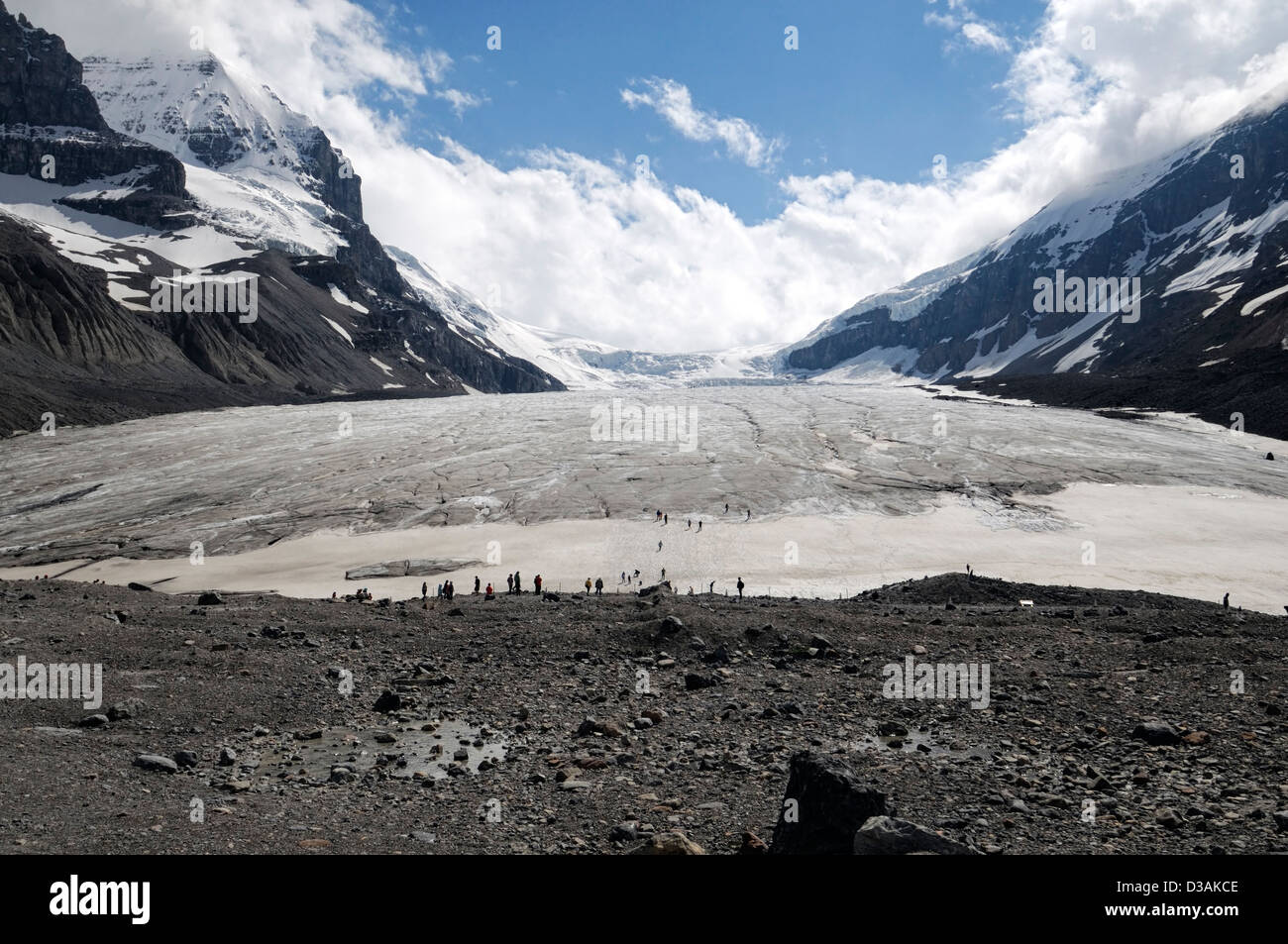 Athabasca Glacier Columbia Icefield Jasper National Park Alberta Canada climate change retreat shrink shrinking - Stock Image